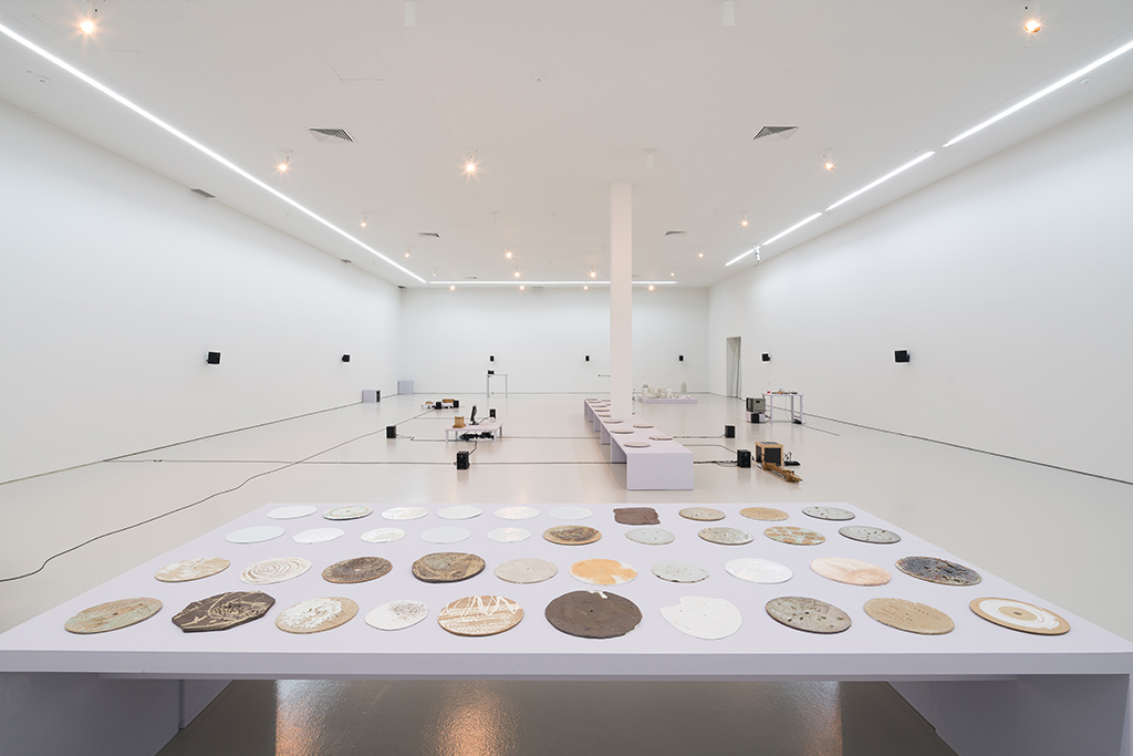 """Installation view of TAREK ATOUI's """"The Ground- From the Land to the Sea,"""" NTU Centre for Contemporary Art Singapore, 2018. Courtesy NTU Centre for Contemporary Art Singapore."""