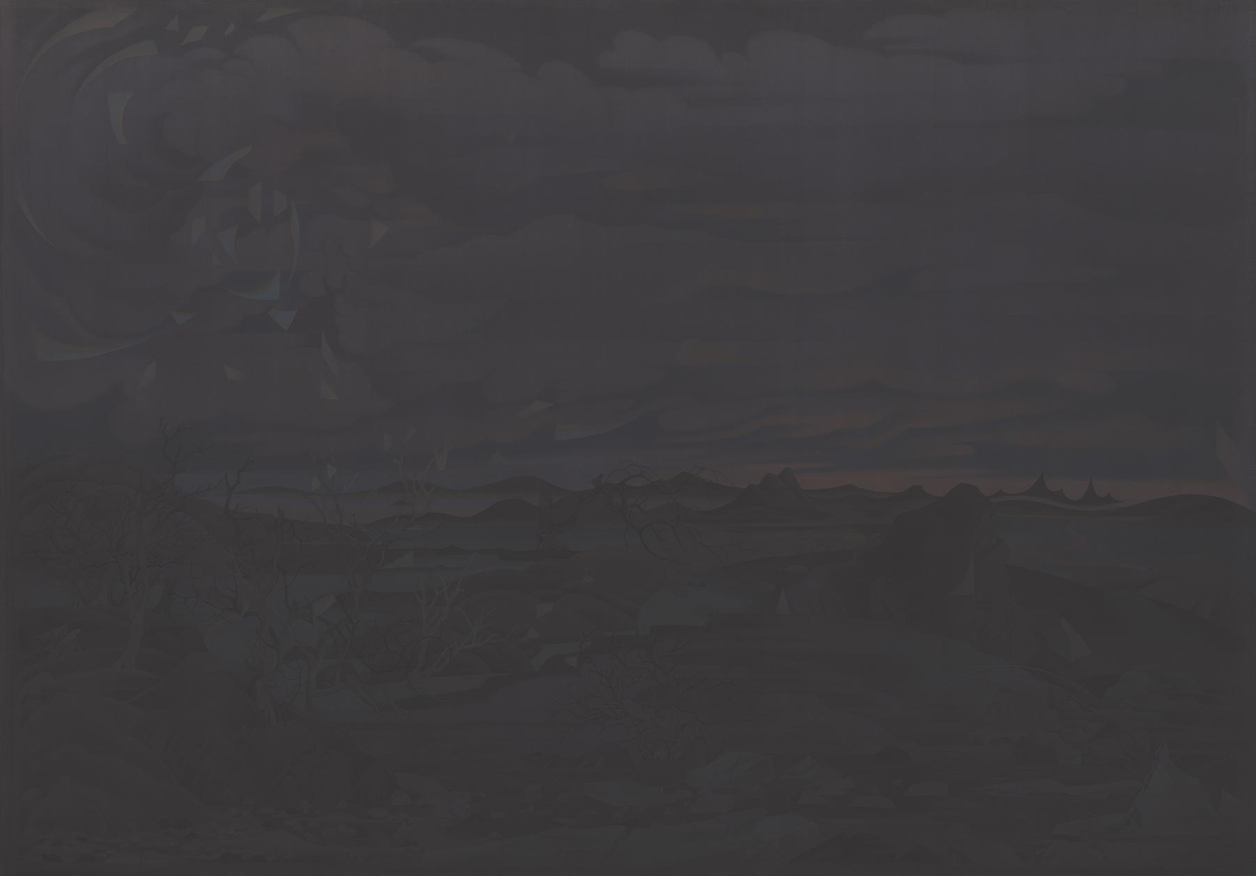 05.套數·秋思--牛羊野 ,Tao Shu - Autumn Thoughts I,絹本重彩, Ink and color on silk,216.6x152.6cm,2019-1