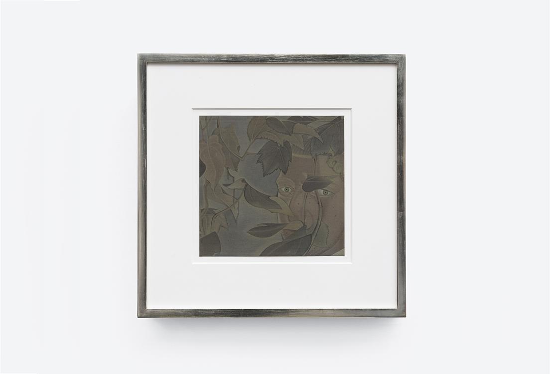 終日凝眸,絹本重彩,Ink  and color on silk,畫心尺寸:22.5x23.5cm,裝框尺寸:42.5x43.5x3.8cm,2020-2