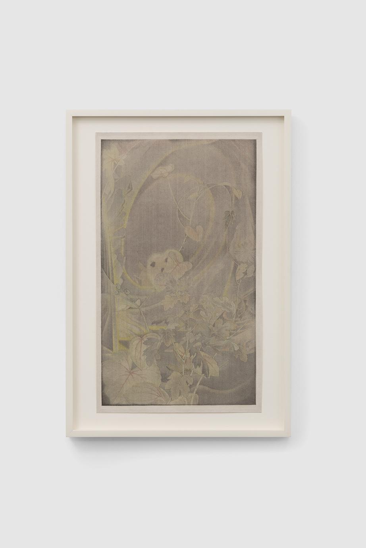 彷彿若有光,絹本水墨, As If A Glimpse of Light,畫心尺寸:25.5x43.5cm,裝框尺寸:34.5x55.5x3cm,Ink on silk,2020的副本2-1